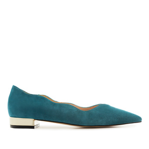 Waved Upper Ballet Flats in Blue Nappa Leather