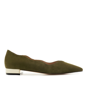 Waved Upper Ballet Flats in Olive Green Nappa Leather