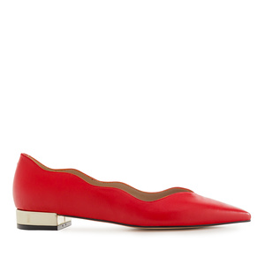 Waved Upper Ballet Flats in Red Nappa Leather