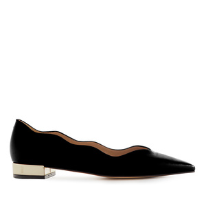 Waved Upper Ballet Flats in Black Nappa Leather