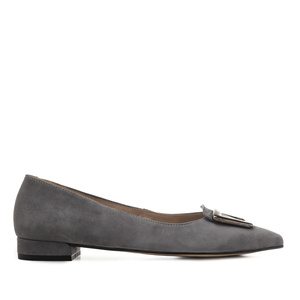 Trim Loafers in Grey Suede Leather