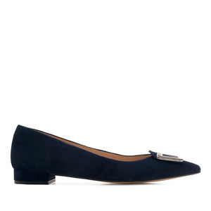 Trim Loafers in Navy Suede Leather