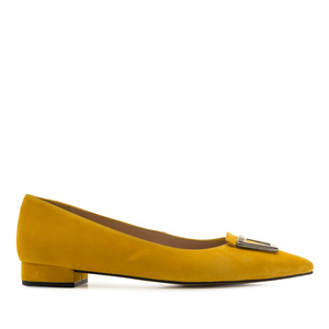 Ballerines en Daim de couleur Moutard