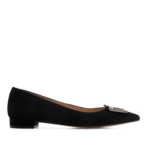 Trim Loafers in Black Suede Leather