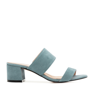 Sky Blue Suede Leather Mules