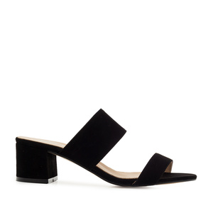 Black Suede Leather Mules