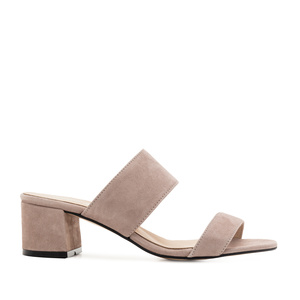Nude Suede Leather Mules