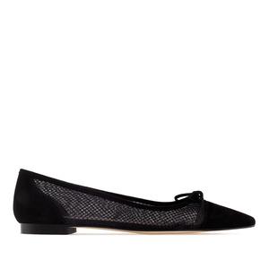 Black Suede & Mesh Ballet Flats