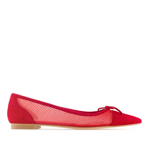 Red Suede & Mesh Ballet Flats