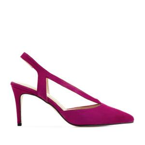 Špicaste sandale od prevrnute kože, pink