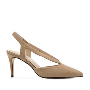 Špicaste sandale od prevrnute kože, drap
