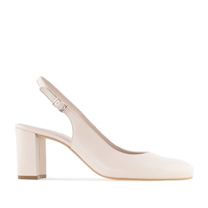 Slingback Stilettos in Beige Nappa Leather