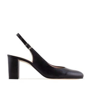 Slingback Stilettos in Black Nappa Leather