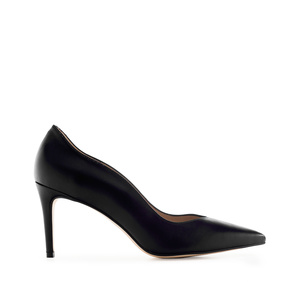 Waved Upper Stilettos in Black Nappa Leather