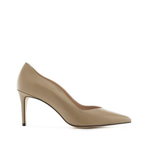 Waved Upper Stilettos in Earth Nappa Leather