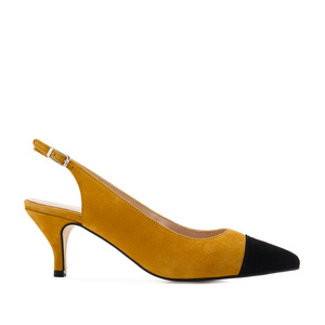 Slingback Shoes in Mustard Yellow Suede Leather