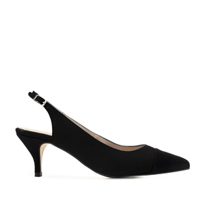 Slingback Shoes in Black Suede Leather