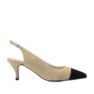 Slingback Shoes in Beige Suede Leather