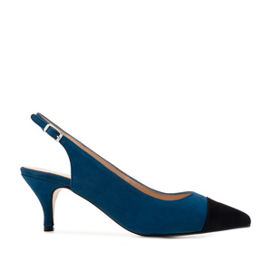 Slingback Shoes in Blue Suede Leather