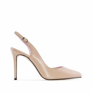 Fine Toe Slingback Shoes in Beige Leather