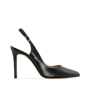 Fine Toe Slingback Shoes in Black Leather