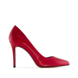 Heeled Shoes in Red Nappa Leather