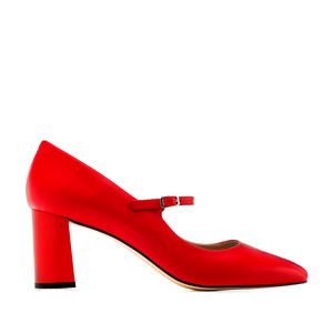 Heeled Mary Janes in Red Nappa Leather