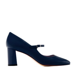 Heeled Mary Janes in Navy Nappa Leather