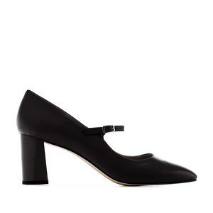 Heeled Mary Janes in Black Nappa Leather
