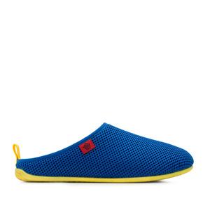 Pantofle síťovina, ve stylu dřeváků. Modré, žlutá podrážka.