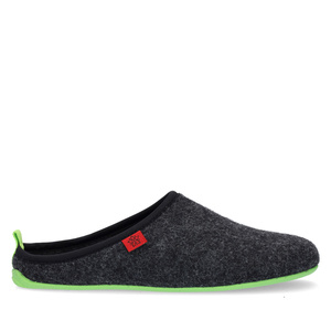 Unisex Black Felt Slippers with Green sole