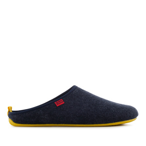 Unisex Slippers in Blue felt with Yellow sole