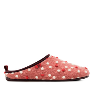 Chaussons en Laine Rose à points