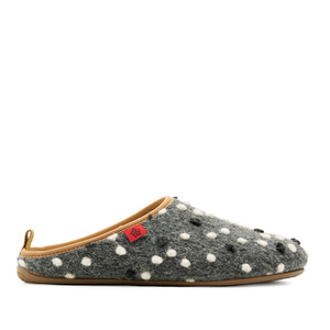 Slippers in Anthracite Wool with dots