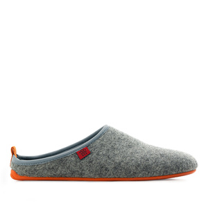 Unisex Grey Felt Slippers with Orange sole