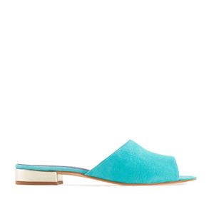 Mules aus Blauem Velourleder mit goldener Hacke - MADE in SPAIN -