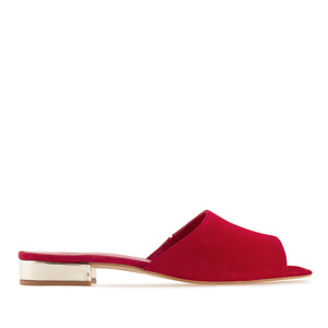 Mules aus Rotem Velourleder mit goldener Hacke - MADE in SPAIN -