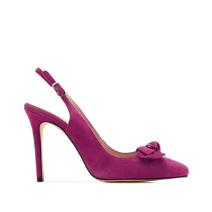 Slingback Stilettos in Fuchsia Suede Leather