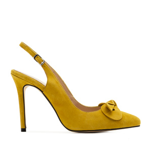 Slingback Stilettos in Mustard Yellow Suede Leather