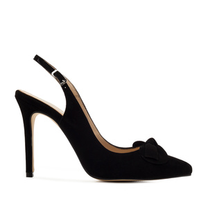 Slingback Stilettos in Black Suede Leather