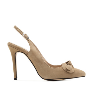 Slingback Stilettos in Beige Suede Leather