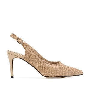 Slingback Stilettos in Beige Braided Leather