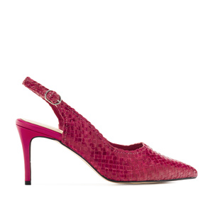 Slingback Stilettos in Fuchsia Braided Leather