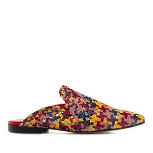 Ravne papuče od pletene kože, multikolor