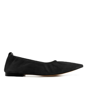 Elasticated Ballet Flats in Black Suede Leather