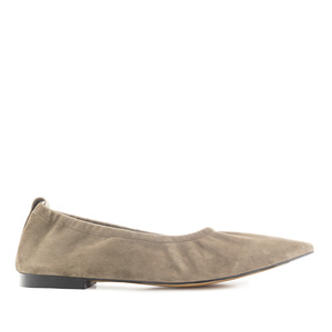 Elasticated Ballet Flats in Beige Suede Leather