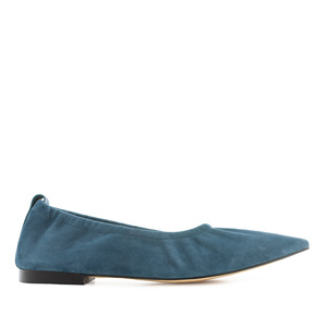 Elasticated Ballet Flats in Blue Suede Leather