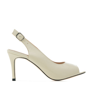 Slingback Shoes in Off-white Leather