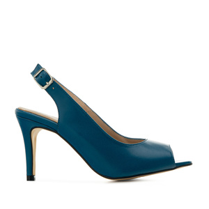 Slingback Shoes in Blue Leather
