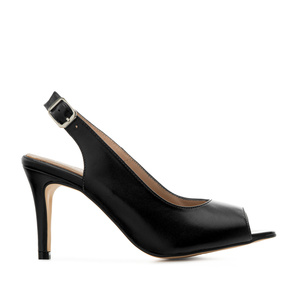Slingback Shoes in Black Leather